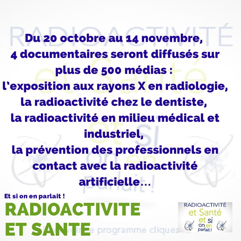 Découvrez en 4 émissions les sources d'exposition aux rayonnements artificiels et leurs apports en #santé #radioactivité