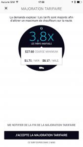 Uber et la majoration tarifaire