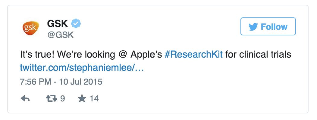 la pharma aussi s'intéresse à ResearchKit d'Apple #hcsmeufr